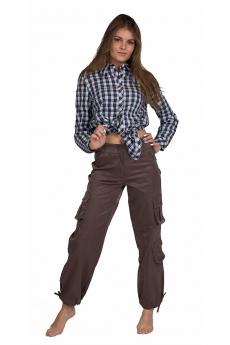 Коричневые женские брюки карго Bast