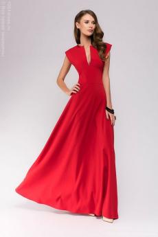 Красное платье макси с глубоким декольте 1001 DRESS со скидкой