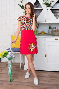 Красное домашнее платье Красная Ветка со скидкой
